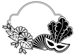 Black and white silhouette frame with carnival masks. Raster clip art.