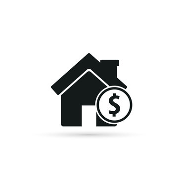 House with coin icon. Vector.