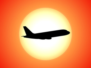 Vector airplane silhouette background sunset