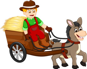 Aluminium Prints Wild West funny farmer cartoon carrying grass with horse drawn carriage