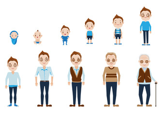 male Aging of male  characters,cycle of life from childhood to old age.Vector, illustrations