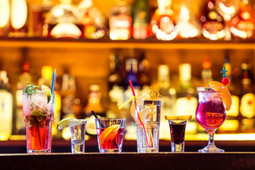 Set of cocktails at the bar
