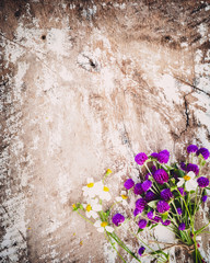 Wall Mural - Colorful flowers bouquet on vintage wooden background. vintage color tone