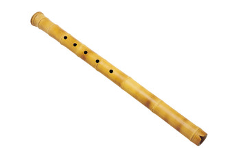 wind musical instrument wooden flute isolated on white background