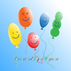 The international day of happiness. Balloons with painted on them funny faces. On a clear blue sky. Vector illustration for a poster or greeting card.