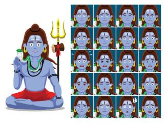 Hindu God Shiva Cartoon Emotion faces Vector Illustration