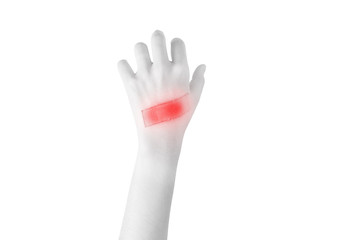 Acute pain in a woman hand isolated on white background. Clipping path on white background..