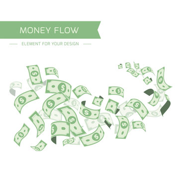 Flying dollars isolated on white background.