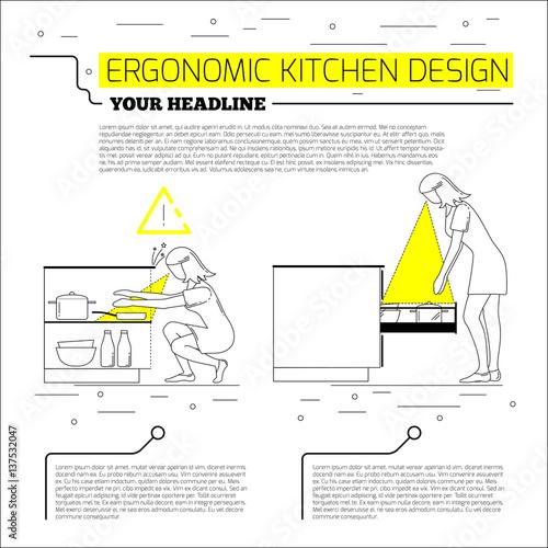 Ergonomics kitchen design vector illustration in line for Ergonomic kitchen design