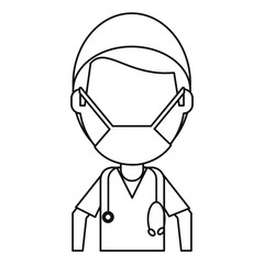 male surgeon medical professional thin line vector illustration eps 10