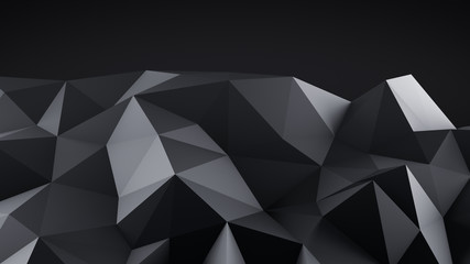 Low poly black shape abstract 3D render