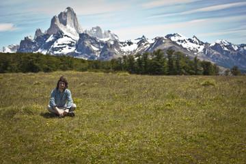 Wanderer in den Bergen von Argentinien