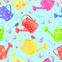 seamless texture with lovely watering cans and butterflies