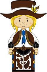 Cute Cartoon Cowboy Girl with Guns