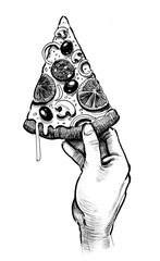 Hand with pizza