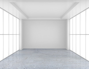 white empty room and concrete floor. 3d rendering.