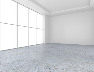 empty white room with concrete floor, grey background. 3d rendering.