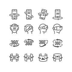Set of  Virtual Reality Related 360 Degree Image and Video Icons.Contains such Icons as 360 Degree View, Panorama, Virtual Reality Helmet and  Rotation Arrows