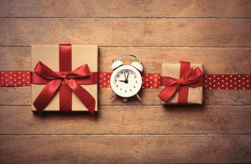 gifts, ribbon and clock