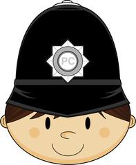 Cute Cartoon British Policeman in Classic Hat