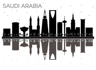 Saudi Arabia skyline black and white silhouette with reflections.