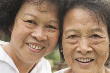 Asian seniors family close up face