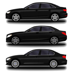 realistic car. sedan. set