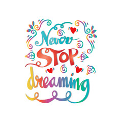 Never stop dreaming Inspirational text motivational poster.