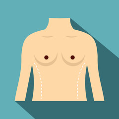 Woman prepared to waist surgery icon, flat style