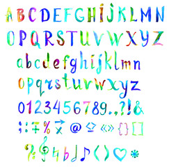 Hand painted, handwritten watercolor font with symbols and numbers, bright colors of rainbow (green, blue, yellow), isolated