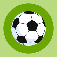 Soccer ball icon. White-black soccer ball on a green and red background. Sports Equipment. Vector Illustration.