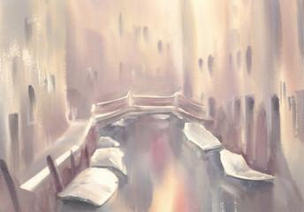 gondolas in Venice morning watercolor