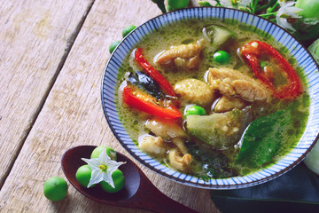 green curry chicken soup, famous thai cuisine.