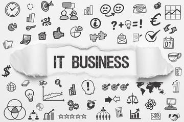 IT Business / weißes Papier mit Symbole