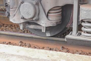 wheels a train closeup