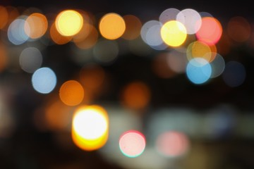 Abstract blurred bokeh in city colorfu beautiful in night top view, with copy space