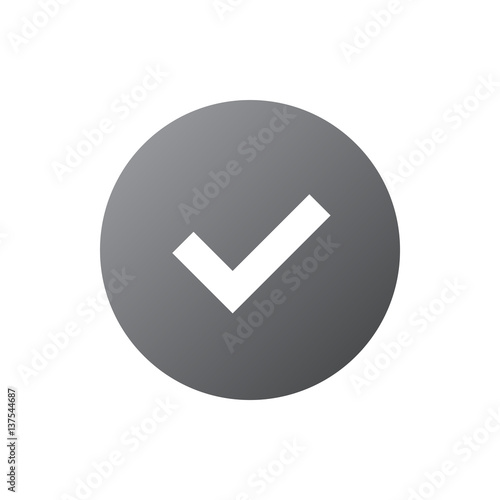 Tick sign gray element  Silver checkmark icon isolated on