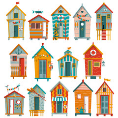 14 various multi-colored Beach Huts.