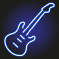 guitar blue neon glowing on dark background of vector illustration