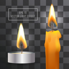 Vector realistic flame. Candle set on transparent background. Tea and wax candles.