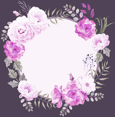 Dark floral round watercolor template with roses in violet