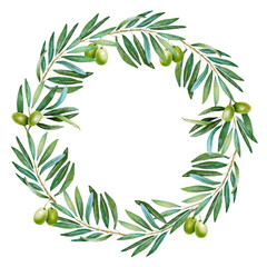 Olive watercolor wreath
