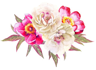 WHite and red peonies flower watercolor bouquet