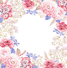 Round background template made of pink and red roses, blue leaves, branches on white background. Valentine's background