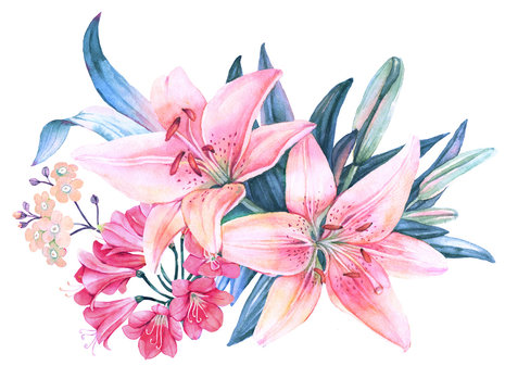 Pink lily flower watercolor bouquet