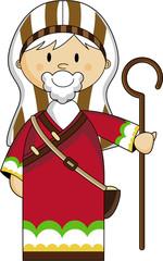 Cute Cartoon Biblical Nativity Shepherd