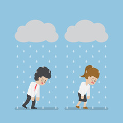 Sadness Businessman Walking Under Cloud and Rain