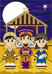 Cartoon Nativity King with Virgin Mary and Joseph