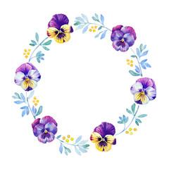 Beautiful pansy flower watercolor wreath