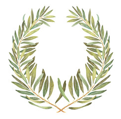 Olive wreath watercolor illustration